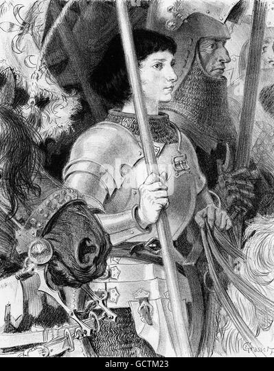 Joan of Arc (Jeanne d'Arc: c.1412-1431), often referred to as  the 'The Maid of Orléans'. Illustration - Stock Image