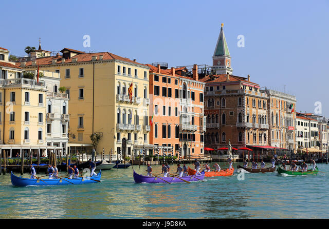 Canal Grande (Grand Canal), Venice, UNESCO World Heritage Site, Veneto, Italy, Europe - Stock Image