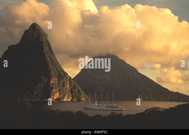 St Lucia Island Pitons caribbean sunset sailing cruise ship masts - Stock Image