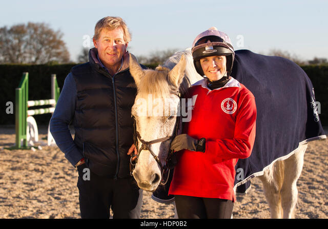 Olympic gold winner Nick Skelton gives Vickie Pendleton and Frankie Dettori a show jumping masterclass, Alcester, - Stock Image