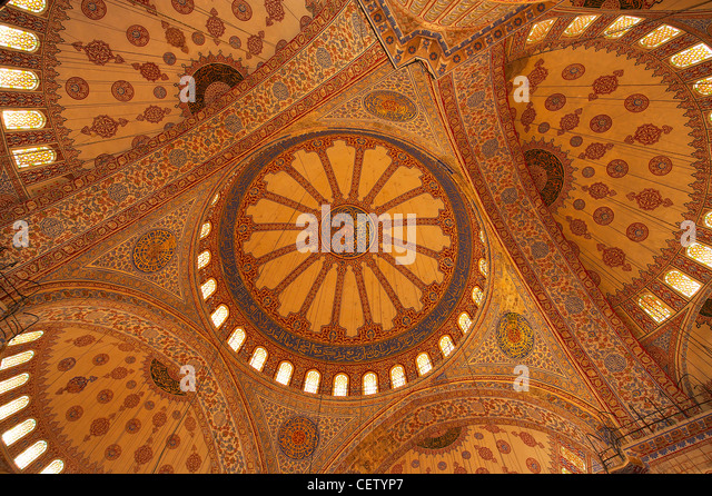 the interior of the domes of the Blue Mosque, Sultanahmet, Istanbul, Turkey - Stock Image