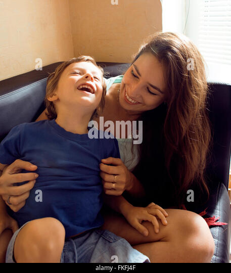 mother with son, happy family at home - Stock Image