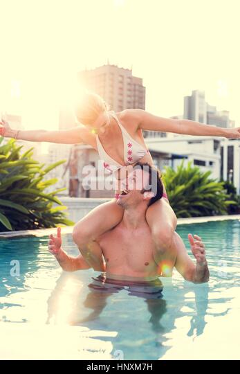 Couple Lover Activity Happiness Lifestyle - Stock Image