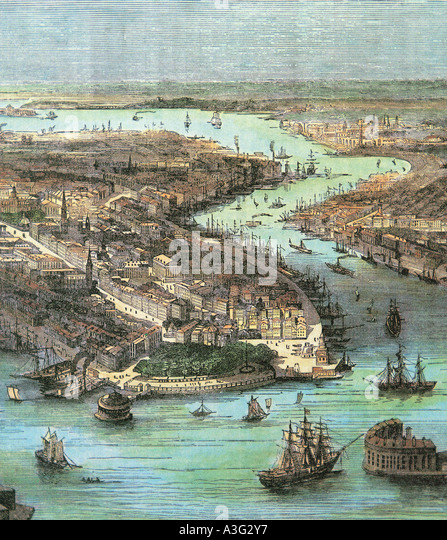 NEW YORK in an 18th century engraving - Stock Image