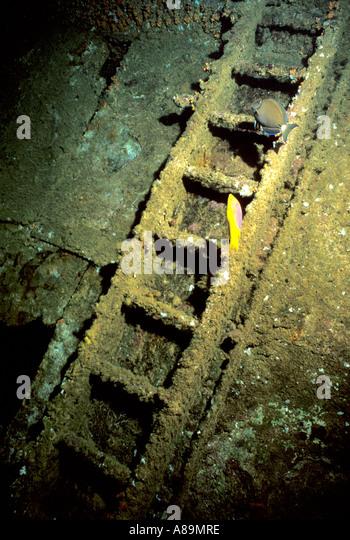 Underwater sunken ship ladder stairs - Stock Image