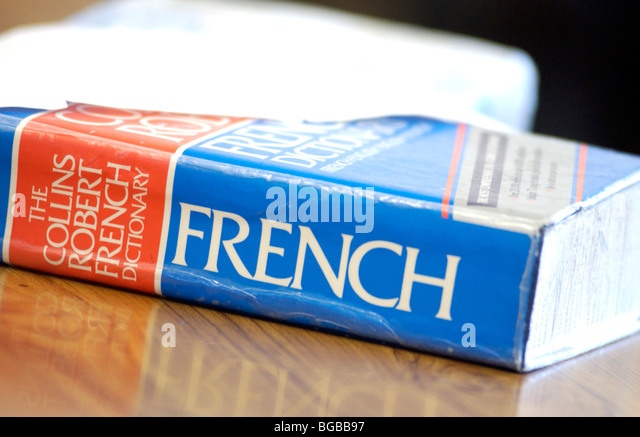 Photograph of French dictionary course learning student college - Stock-Bilder