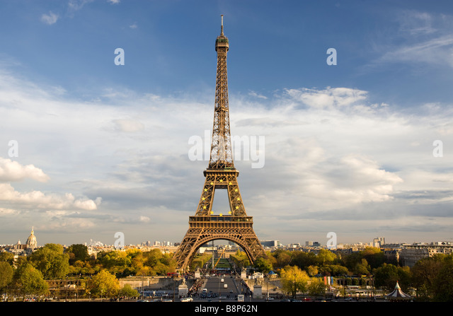 Eiffel Tower viewed from the Trocadero Paris France - Stock Image