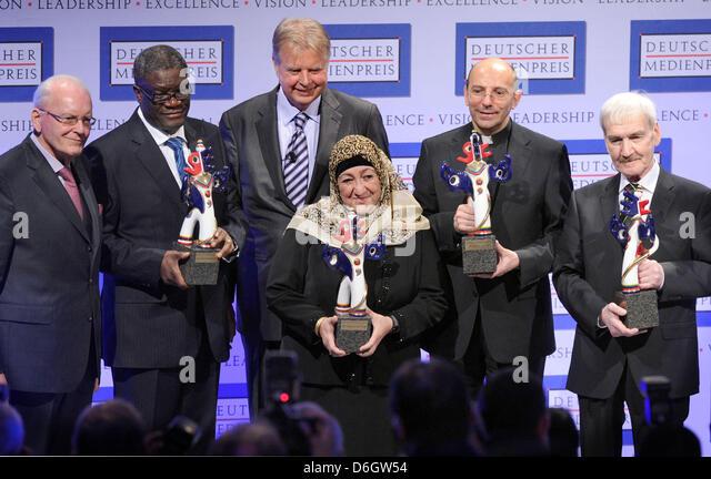 Former German President Roman Herzog (L-R), doctor Denis Mukwege from the Congo, prize donor Karlheinz Koegel, Afghanistan - Stock Image