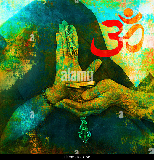 Om sign with Buddhist hands. - Stock Image