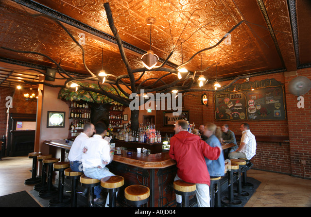 Cleveland Ohio Tremont Artwalk Tree House bar saloon nightlife drinking - Stock Image