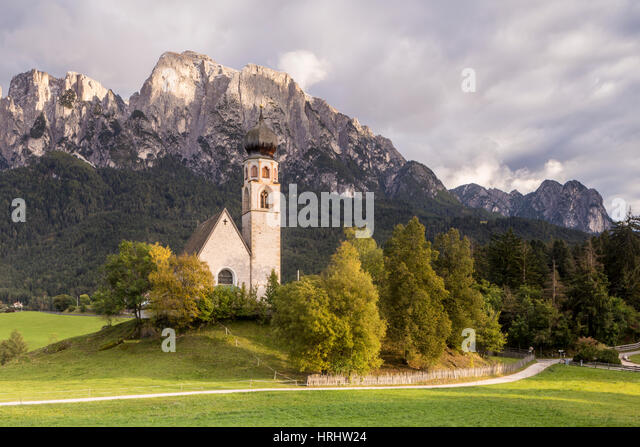 The church of San Costantino in the Dolomites, Italy - Stock Image