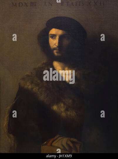Portrait of a Man, The Sick Man, by Titian, 1514, Uffizi Gallery, Florence, Tuscany, Italy, Europe - Stock Image