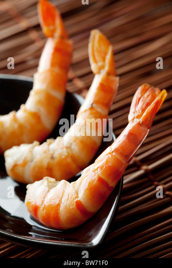 3 delicious cooked shrimps - Stock Image