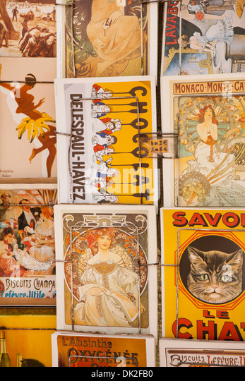 Full frame close up of vintage French postcards, Paris, France - Stock Image