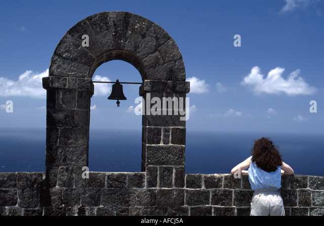 West Indies St. Kitts Brimstone Hill Fort George Citadel 790 feet above sea level female bell stone arch Caribbean - Stock Image