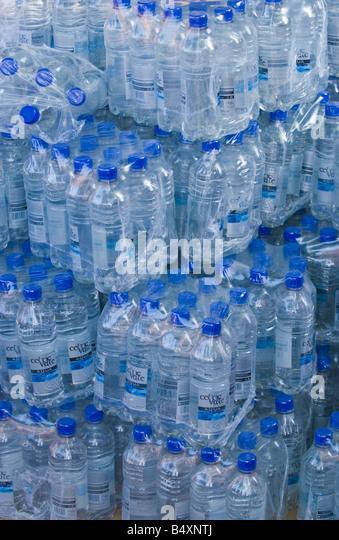 Stacks of bottled water at Abergavenny Food Festival - Stock Image