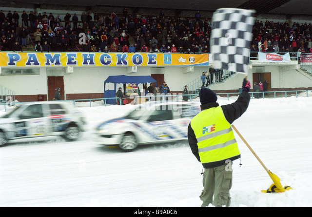 On the finish straight of the first stage reached by the N 1600 qualifying group in the Russian track motor racing - Stock Image