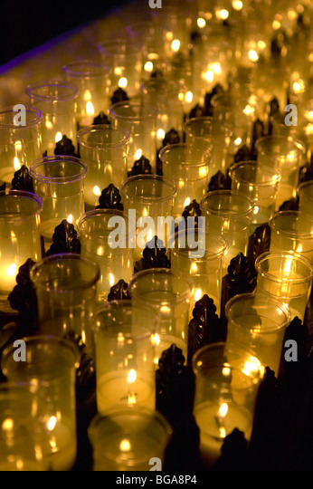 Altar votive prayer candles - Stock Image