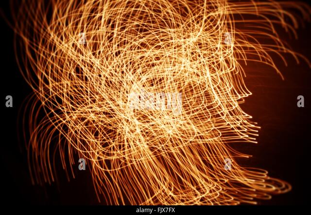 Full Frame Shot Of Light Paintings At Night - Stock Image