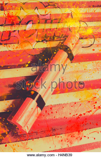 Retro comic stylised image of a sparking red bomb with burning wick ready to POW! Explosive comic art - Stock Image