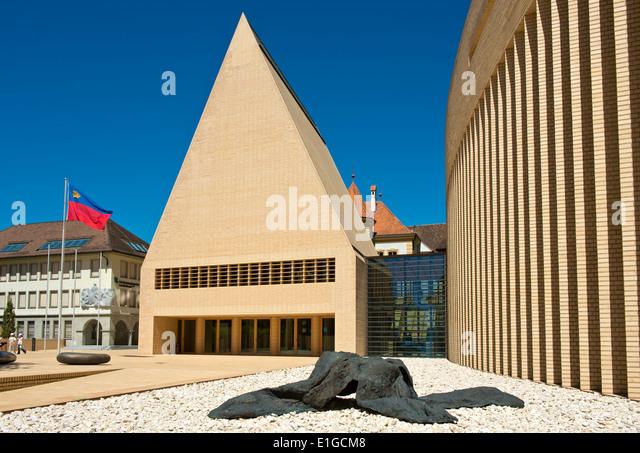 Sculpture Welwitschia at the House of Parliament building in Vaduz, Principality of Liechtenstein, Europe - Stock Image