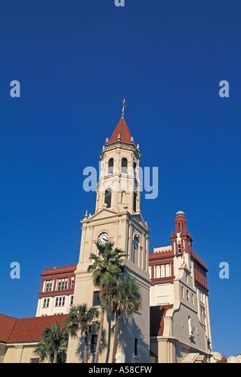 St Augustine, Florida  skyline spanish style cathedral basilica parish spanish architecture - Stock Image