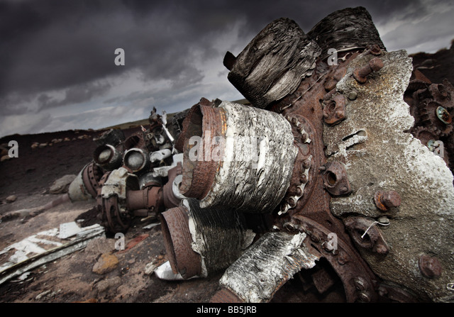 Aircraft wreckage of a Superfortress RB-29A 91st Reconnaissance Wing, 311th Air Division. Located up on Bleak Low, - Stock Image
