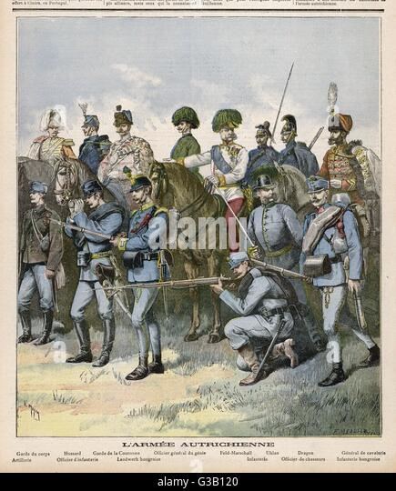 Austrian army:  various uniforms        Date: 1892 - Stock Image