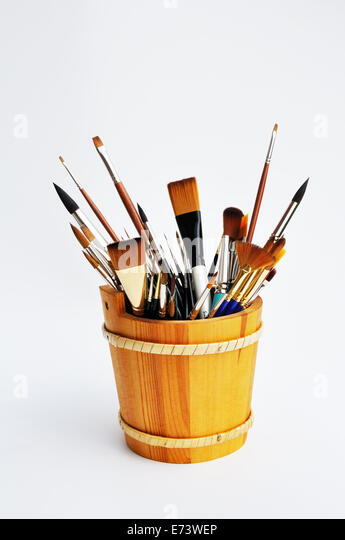 Watercolor supplies - brushes - Stock-Bilder