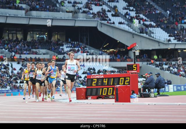 Olympic 2012 Athletics Stadium, London, UK. Mens 3000m race at the BUCS VISA Outdoor Athletics Championships. 05 - Stock Image