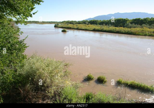 Albuquerque New Mexico Rio Grande State Park Sandia Mountain W - Stock Image