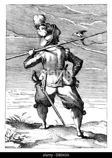 military, uniforms, 'Newes Soldaten Buchlein', by Lucas Kilian, Augsburg, 1609, illustration, foot soldier - Stock Image