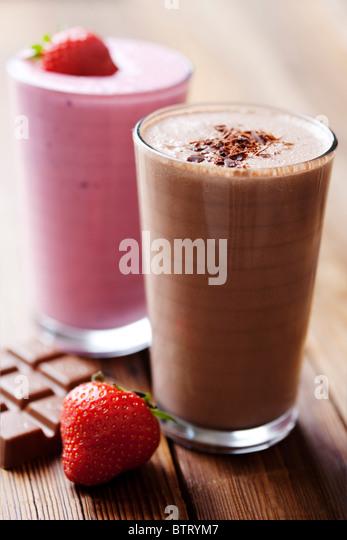 strawberry and chocolate milk shake - Stock Image