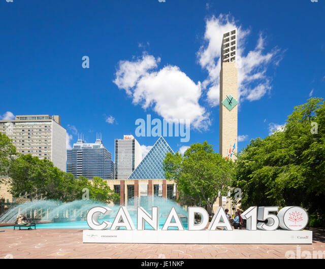 The official 3D Canada 150 sign at Sir Winston Churchill Square in Edmonton, Alberta, Canada. The sign celebrates - Stock Image