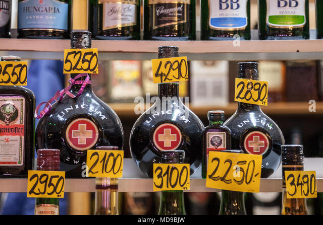 BUDAPEST, HUNGARY - APRIL 6, 2018: Unicum bottles for sale on a Hungarian market. Unicum Zwack is one of Hungary most famous liquor  Picture of Unicum - Stock Image