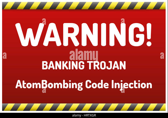 Banking Trojan - Warning sign - bank account hacking, email viruses and fraud concept - Stock Image