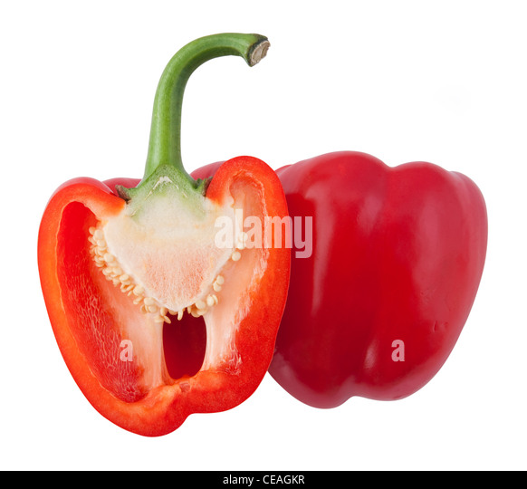 Views of a split red bell pepper on a white background. - Stock Image