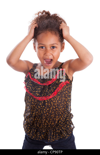 Little African Asian girl holding her head, over white background - Stock Image