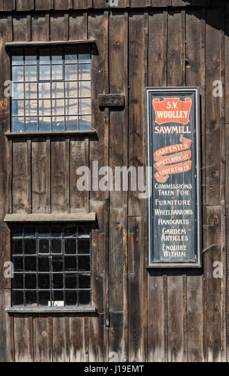 Sign on the Saw Mill and Undertaker's workshop at the Blists Hill Victorian Town, near Madeley, Shropshire, - Stock Image