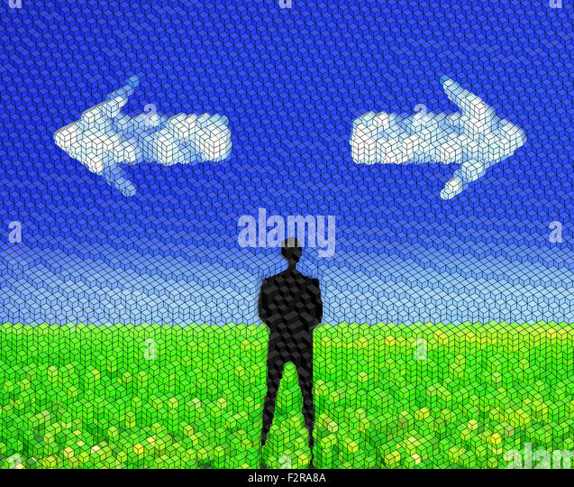 Man standing on a green meadow and looking to clouds formed as arrows - decision making concept - Stock Image