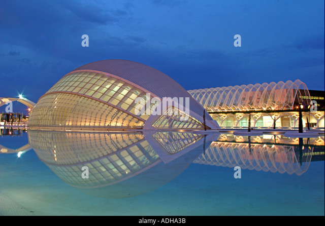 Spain Valencia City of sciences and arts by architect Santiago Calatrava twilight  - Stock Image