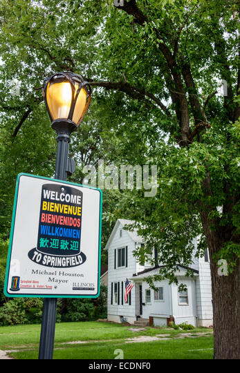 Springfield Illinois Monument Avenue sign welcome many languages multi multiple - Stock Image