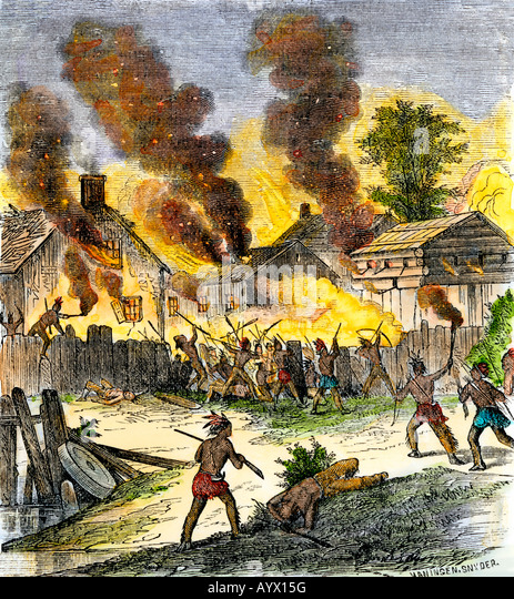 Burning of Deerfield Massachusetts during an attack by Native Americans 1704 - Stock Image