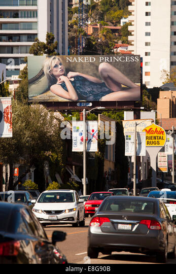 Billboards and traffic, La Cienega Blvd., Los Angeles, California, United States of America - Stock Image