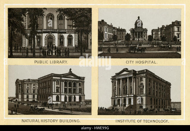 Antique 1883 monochromatic print from a souvenir album, showing the Public Library (Boylston Street, 1858–1895), - Stock Image