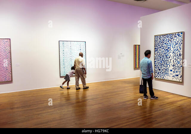Manhattan New York City NYC NY Harlem Studio Museum Harlem interior African American art contemporary gallery exhibit - Stock Image