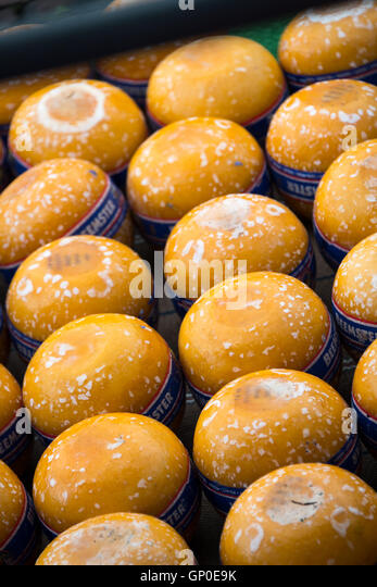 Edam cheese on sale at the cheese market, Edam, Netherlands - Stock Image