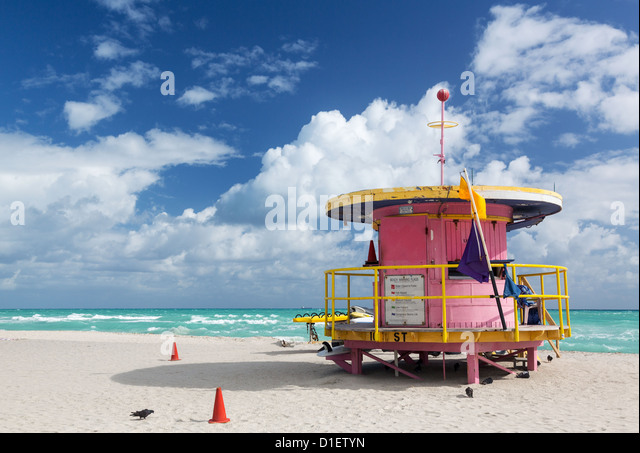 Miami beach, Florida, USA - lifeguard station - Stock Image