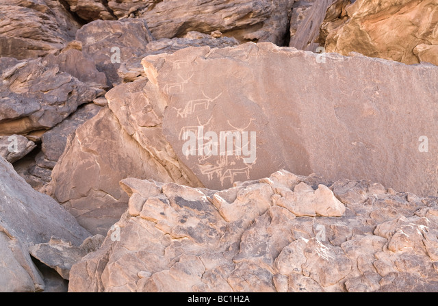 Rock-art in the Eastern Desert of Egypt, North Africa - Stock Image