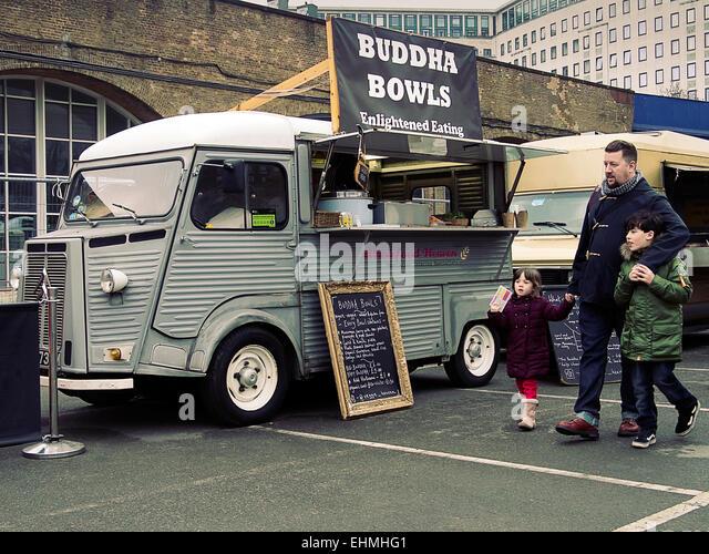 London, UK. 15th Mar, 2015. Food Van at The Classic car boot sale South Bank London UK 15/03/2015 Credit:  Martyn - Stock Image
